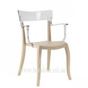 Кресло Hera-K из полипропилена, бежевые с цветной прозрачной спинкой