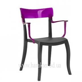 Кресло Hera-K из полипропилена, чёрные с цветной прозрачной спинкой