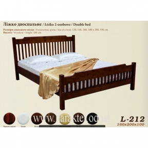 Ліжко двоспальне, кровать двуспальная деревянная Л-212 160*200 шм