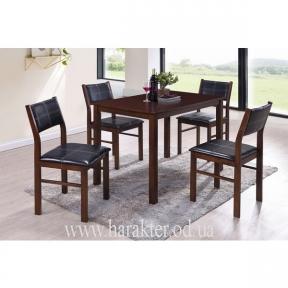 комплект стол и стулья Лорри кожзам черный КД