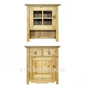 Деревянная мебель в стиле Кантри, деревенский стиль буфет, Витрина P-1DG + Kомод P-1D2S