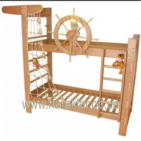 Двухъярусная кровать в морском стиле Капитан Пират в комплекте со шведской стенкой и крутящимся штурвалом