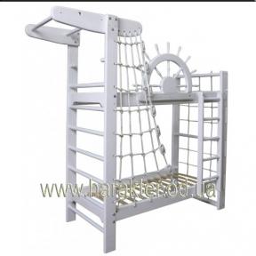 Двухъярусная кровать Капитан Пират Белый в комплекте со шведской стенкой