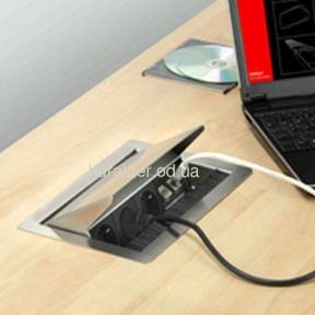 розетка скрытого монтажа для кухни офиса, Блок розеток EVOline FlipTop Push 3x220