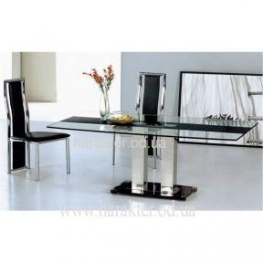 Стеклянный стол 853S с черной полоской и хромироваными ножками