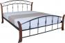 Кровать двуспальная металлическая Летиция Вуд ножки дерево кмм