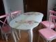 Комплект обеденный стол и 4 стула, стол - ножки дерево, 75*130(160) лм