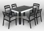 Комплекты обеденные (Столы и Стулья) Марко белый (черный) мф