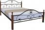 Кровать двуспальная металлическая Патриция Вуд ножки дерево кмм 140/160/180см